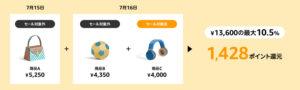 2019amazonプライムデーセール10.5%ポイント還元例